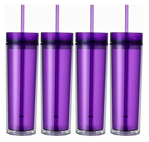 Set of 4 Double Wall Skinny Acrylic Tumblers 16 Oz, with Straws - Ounce 16 Tumbler California