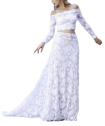 Off The Shoulder Lace Wedding Dresses For Bride 2019 Long Sleeves 2