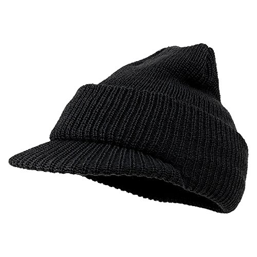 Usa Wool Jeep Cap - Made in USA, Government Issue 100% Wool Beanie Cap - Black
