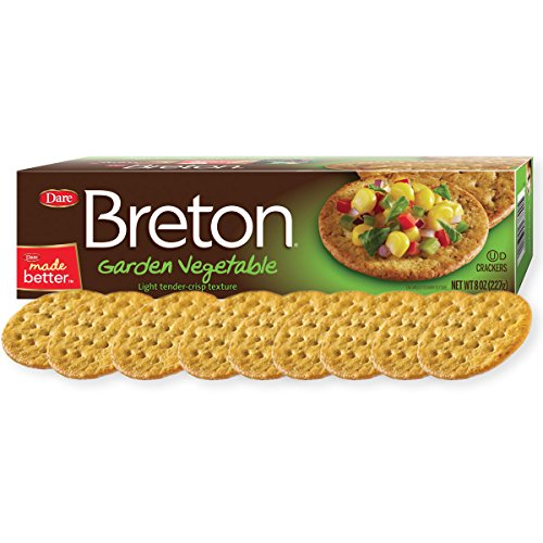 Dare Breton Crackers, Garden Vegetable - Party Snacks with no Artificial Flavors, Baked with Real Vegetables - 8 Ounces (Pack of 12) - Garden Vegetable Dip