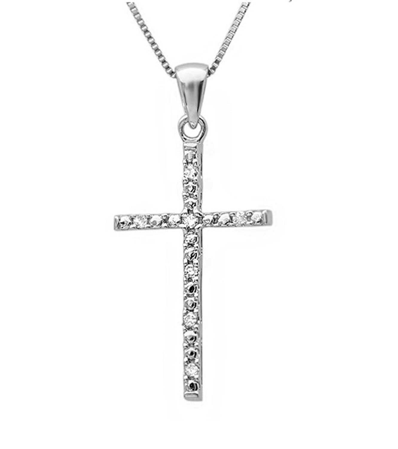 Diamond Cross Pendant-Necklace in Sterling Silver on an 18in Box Chain