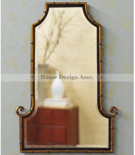 Elegant Asian Iron Bamboo Curl Wall Mirror Large XL Oriental Shaped Tall Flat Arch