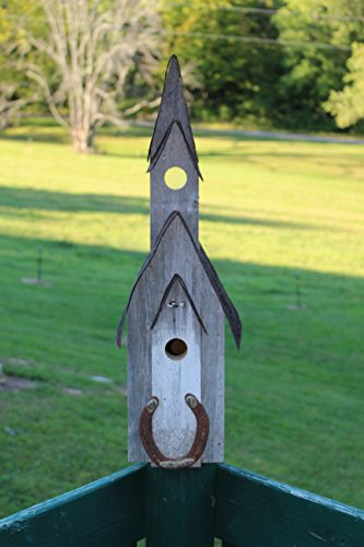Amish crafted Barnwood Church Birdhouse with Horse Shoe