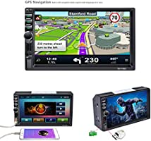 Support for Mirror Link FM//AM//RDS//USB//TF Card//AUX in Rear View Camera LSLYA Bluetooth Car Radio 2DIN Stereo 1080P MP5 Player GPS Navigation Capacitive Touch Screen Steering Wheel Remote