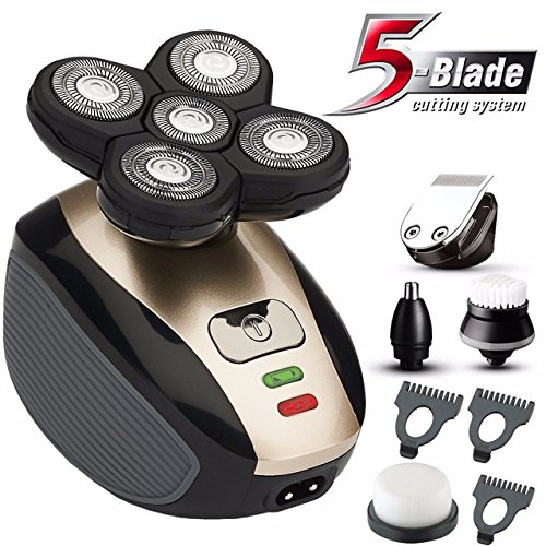 5 in1 grooming kit wet/dry Shaver Electric Razor For Men All In One Bald Hair Trimmer Beard & Nose Trimmer Facial Cleansing Brush Waterproof USB Rechargeable