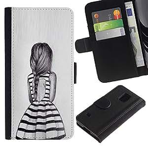 Billetera de Cuero Caso Titular de la tarjeta Carcasa Funda para Samsung Galaxy S5 V SM-G900 / dress summer girl ponytail design fashion / STRONG