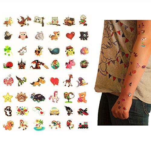 Oblique-Unique® Tattoo Set 48 Stück Kindertattoos Leuchten im Dunkeln