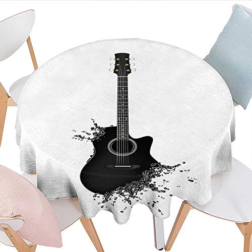 longbuyer Guitar Round Tablecloth Monochrome Musical Instrument with Strings Acoustic Color Splashes Creative Outlet Party Tablecloth 50