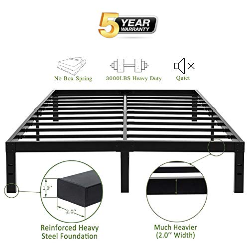 45MinST 14 Inch Platform Bed Frame/Easy Assembly Mattress Foundation / 3000lbs Heavy Duty Steel Slat/Noise Free/No Box Spring Needed, Twin/Full/Queen/King/Cal King(Cal King)