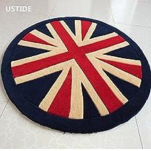 Ustide England Flag Rug Acrylic Handmade Rug Union Jack Chair Mats Round Floor Carpets for Foyer/Bedroom (Indigo blue,Camel,Red)