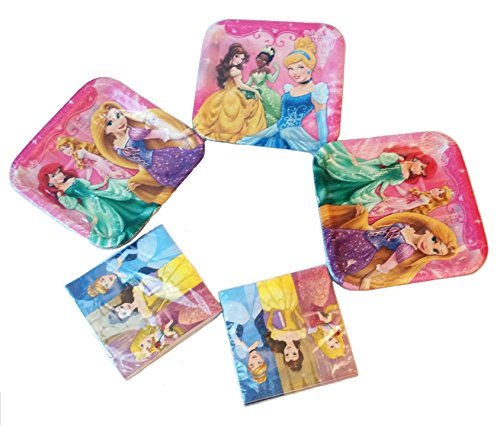 Disney Princess Party Pack. 24 Disney Princess Party Dinner Plates & 32 Disney Princess 'Dreams' Large Lunch Napkins. Bundle of 5