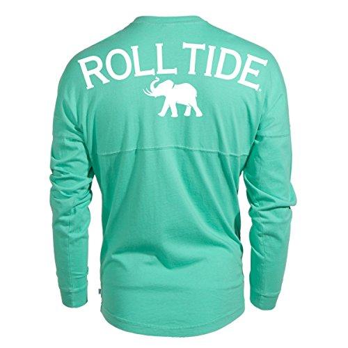 (Venley Official NCAA University Of Alabama Crimson Tide UA Roll Tide! Women's Long Sleeve Spirit Wear Jersey T-Shirt, Mint Green-35al-18, X-Small)