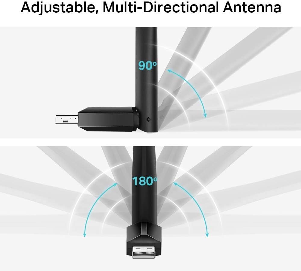 TP-LINK AC600 Dongle USB Wi-Fi, adaptador Wi-Fi de doble banda con antena de 5dBi para PC / escritorio / portátil, compatible con Windows10 / 8.1 / ...