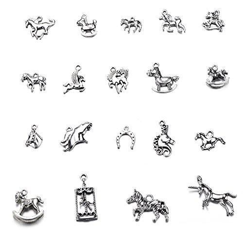 Horse Charm Jewelry - 38pcs Mixed Tibetan Silver Plated Horse Pegasus Charms Pendants for Bracelet Necklace Jewelry Accessories Making DIY Handmade Crafts (38pcs-Mixed Horse)