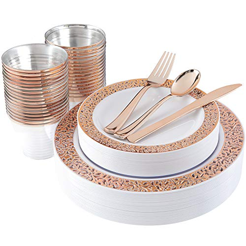 180pcs Plastic Rose Gold Plates, Rose Gold Silverware,Rose Gold Cups, Disposable Party Flatware, Durable Wedding Plates and Cutlery Set, Supernal -
