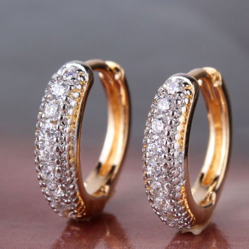 Phonphisai shop HUCHE 18k Gold Filled Ring Style Diamond Sapphire Crystals Women Earrings Studs ()