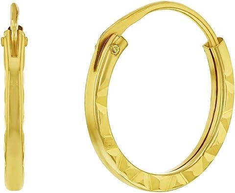 14k Yellow Gold Polish Plain Endless Small Hoop Earrings for Girls Teens
