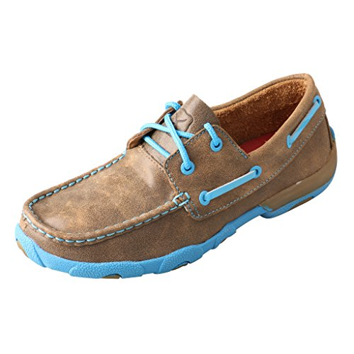 Twisted X Women's Driving Moccasins Bomber/Neon Blue - Authentic Leather Outdoor Footwear 8M -