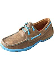 Twisted X Womens Driving Moccasins Bomber/Neon Blue - Authentic Leather Outdoor Footwear