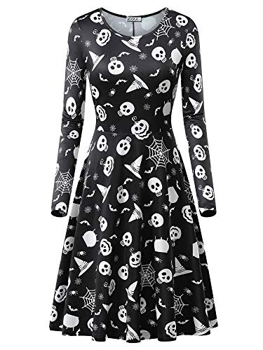 KIRA Womens Hats Skull Printed Halloween Costumes Midi Dress -