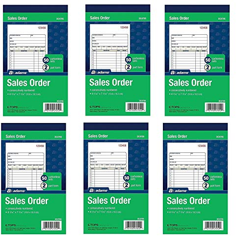 Adams Sales Order Books, 2-Part, Carbonless, White/Canary, 4-3/16 x 7-3/16 Inches, 50 Sets per Book, 6 Books ()