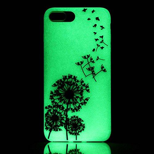 iPhone 7 / 8 Plus Hülle mit Fluoreszenz , Modisch Löwenzahn Transparent TPU Silikon Schutz Handy Hülle Handytasche HandyHülle Etui Schale Schutzhülle Case Cover für Apple iPhone 7 / 8 Plus