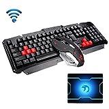 FELICON Wireless Keyboard Mouse Sets HK1600 Multimedia Ergonomic 2.4G Usb Adapter Metal Panel Gamer Keyboard Waterproof + 1600DPI Cordless 6 Buttons Optical Gaming Mice Combo + Mousepad (Black Gray)