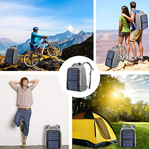SUNKINGDOM portable hiking Powered Waterproof Anti-theft Durable and mutiple function solar backpack with 12W poly solar panel solar charger for all USB devices by SUNKINGDOM (Image #5)