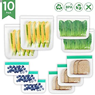 OUTXE Reusable Storage Bags 10 Pack 4 Different Sizes BPA FREE Freezer Bags FDA Grade Ziplock Lunch Bags Extra Thick
