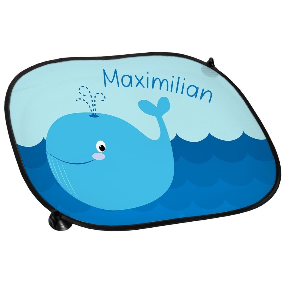 Auto-Blendschutz Auto-Sonnenschutz mit Namen Maximilian und sch/önem Motiv mit Wal f/ür Jungen Sichtschutz Sonnenblende