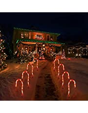 Uonlytech 2 peças de luzes de bengala de Natal para ambientes externos, luzes de caminho, funciona com pilhas, marcadores de gramado para decoração de Natal em ambientes internos e externos