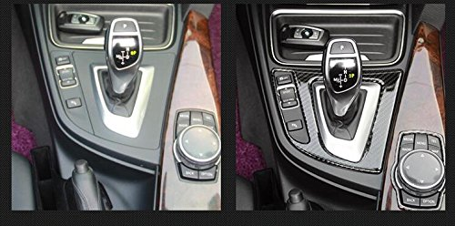 Carbon Fiber Interior Decoration Decal Frame Cover Trim Sticker For BMW 3 Series 320 325 330 335 340 M3 Sixth generation F30 F31 F34 F35 2011-2018 (Gear Shift Knob + i-Drive Media Control Trim Cover)