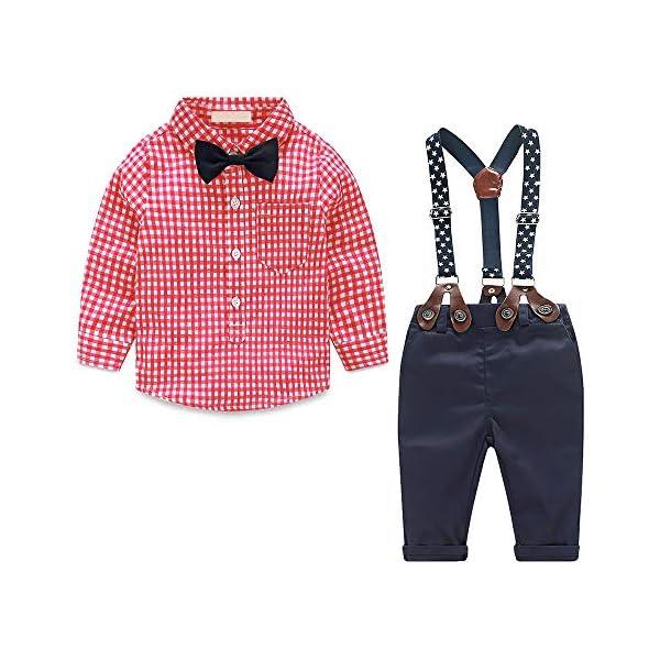 Yilaku Completini e Coordinati per Bambino 4 Pezzi Bambini Ragazzi Abbigliamento Set Camicia+Papillon+Pantaloni+Bretelle… 1