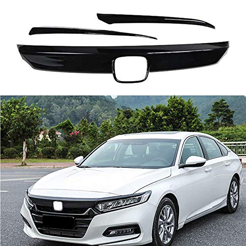 MotorFansClub Front Grille Cover Moulding Trim for Honda Accord 2018 2019 ABS Glossy Black Lip Bumper, 3PCS (Best Grill Covers 2019)