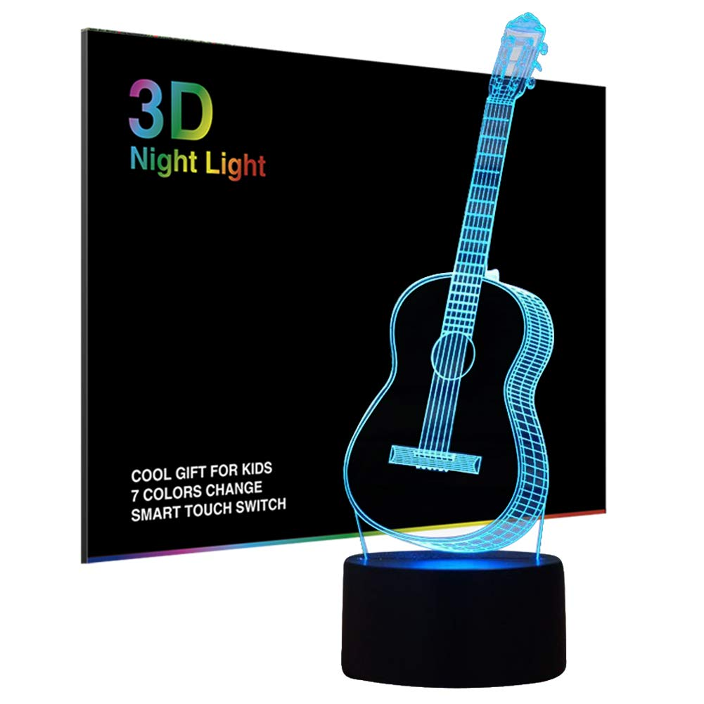 3D Illusion Night Light, Modern LED Table Desk Lamps, Guitar Nightlights, Tiscen 7 Colors Changing Touch Control USB Charge Lighting Bedroom Home Decorative, Best Gift Ideas for Music Lovers, Kids, Ad ZJB-Visual light04