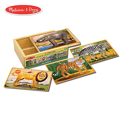 Melissa & Doug Wild Animals Jigsaw Puzzles in a Box (Four Wooden Puzzles, Beautiful Artwork, Sturdy Wooden Storage Box, 48 Pieces, 8