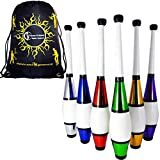 EURO PRO Juggling Clubs Set of 3 (12 Colour Combos!) Metallic Deco Trainer Clubs + Flames N Games Travel Bag! Great Club Juggling Set For Beginners & Advanced Jugglers! (Red/Blue/Green)