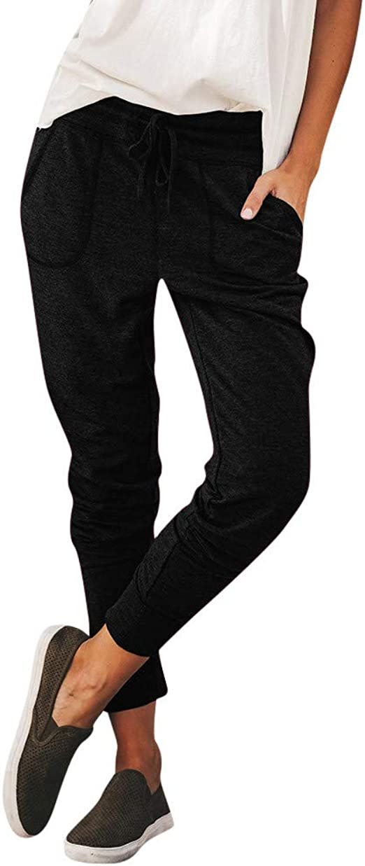 Smileyth Womens Drawstring Sweatpants Fashion Casual Relaxed Fit Solid Color Elastic Waist Frenulum Binding Feet Pants with Pockets Sport Jogger Soft Trousers