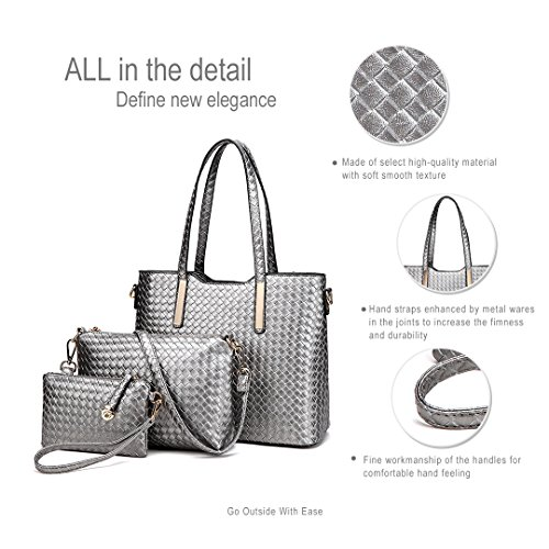 Pieces Lulu Tote Grey Leather 3 Women Miss 1766 Faux Handbag Purse Bag Fashion Shoulder RfwdPzqnT