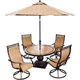 Hanover Outdoor Furniture 5 Piece Monaco High Back Sling Swivel Chairs Dining Set with Umbrella, Tan/Bronze