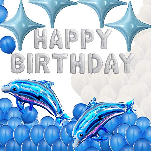 Happy Birthday Dolphin Fish Ocean Sea Theme Party Balloons Set Banner Supplies Blue -