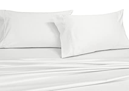 Royalu0027s Solid White 250 Thread Count 4pc Queen Bed Sheet Set 100% Cotton