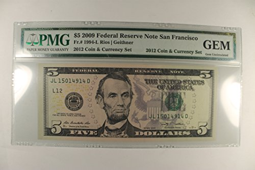 2009 Various Mint Marks Federal Reserve Note San Francisco $5 GU PMG
