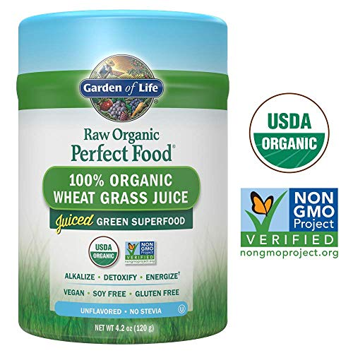 Green Kamut Wheat Grass - Garden of Life Raw Organic Perfect Food 100% Organic USA Wheat Grass Juice - Juiced Green Superfood Greens Powder, 30 Servings - Certified Organic, Vegan, Gluten Free Whole Food Dietary Supplement