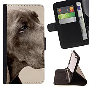 Momo Phone Case / Flip Funda de Cuero Case Cover - Gran danés Gran Grey Dog Pet; - Apple Iphone 4 / 4S