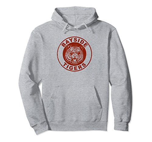 Unisex Saved By The Bell Bayside Tigers Hooded Sweatshirt Large Heather Grey (Classic Tiger Sweatshirt)