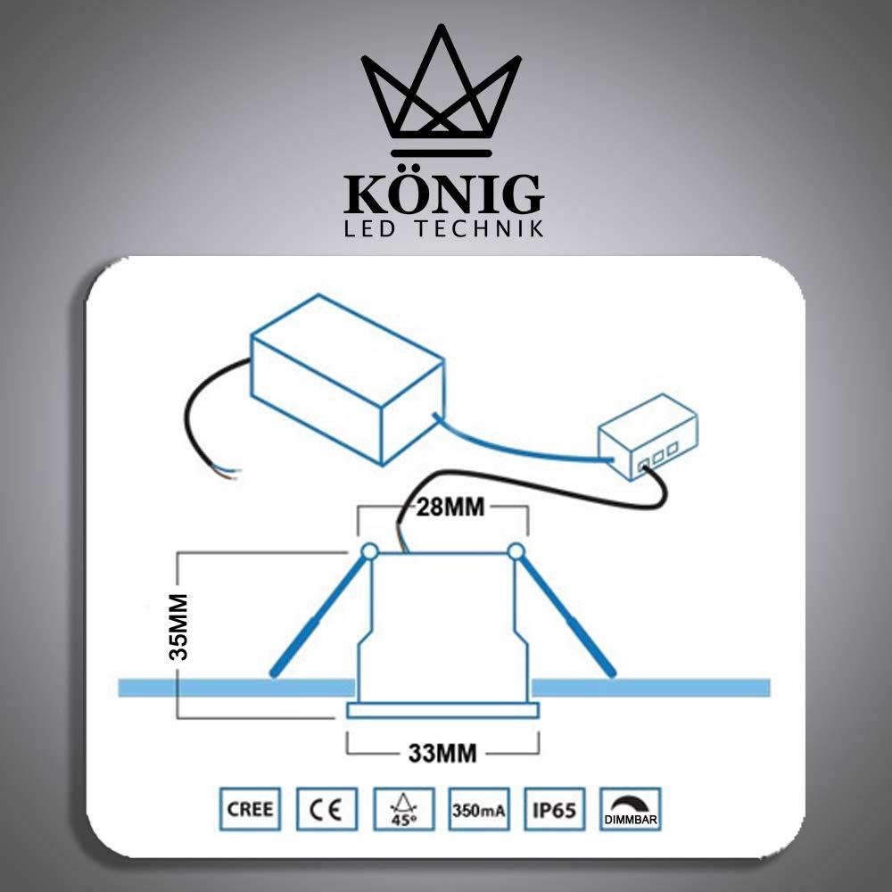 K/ÖNIG Mini spot LED encastrable /à intensit/é variable avec t/él/écommande Blanc chaud 3000 K Protection IP65 Pour /éclairage int/érieur et ext/érieur 1W