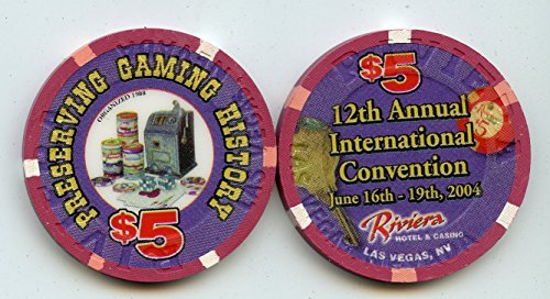 $5 Riviera Preserving Gaming History 12th Annual International Convention June 2004 Old Obsolete Las Vegas Nevada Casino Chip Uncirculated Collectors Condition Chip Real Live chip ()