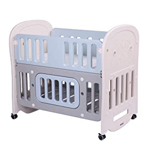 "JOYMOR 6-in-1 Baby Bed Crib with 2"" Mattress and Large Space Storage, Easily Converts to Toddler Bed Day Bed Playard or Rocking Crib"