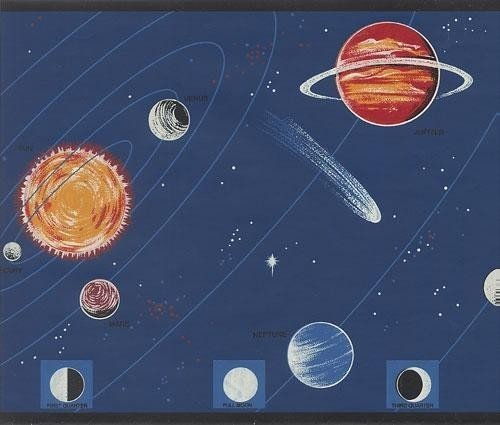 Blue Space Wallpaper Border (Wallpaper Border Outer Space Planets Stars on Blue Sky with Black Trim)